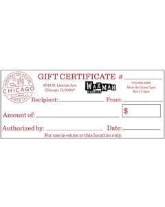 Chicago, IL - Gift Certificate