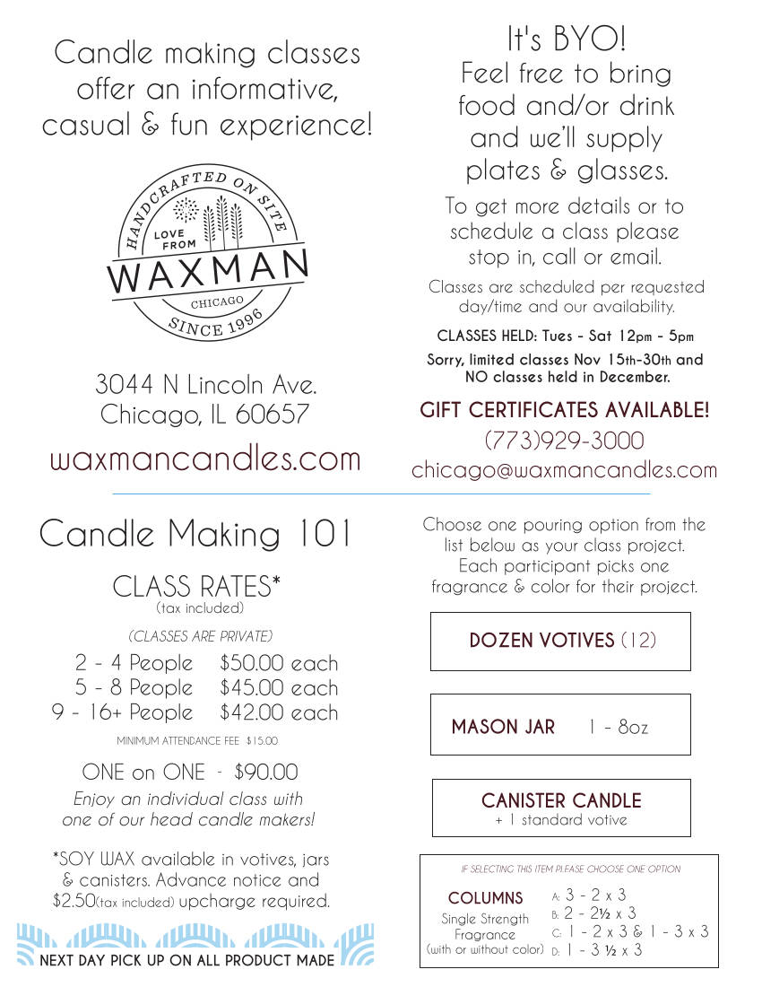 Chicago Candle Making Class Schedule